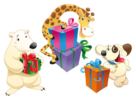 Animals and gifts, cartoon and vector characters Stock Vector - 5516541