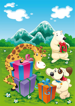 omens: Animals and gifts with background, cartoon and vector illustration Illustration