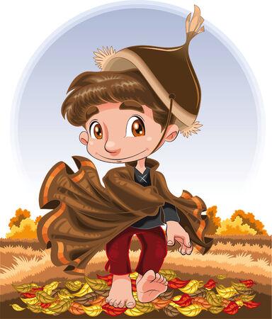 Autumn Character, cartoon and vector illustration Stock Vector - 5516560