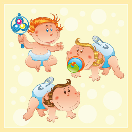 tenderly: Babies with background, cartoon and vector characters