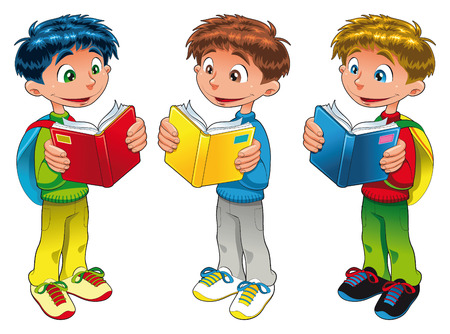 tvillingar: Three boys are reading, cartoon and vector illustrations Illustration