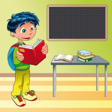 novice: Boy, student in the classroom, cartoon and vector illustration