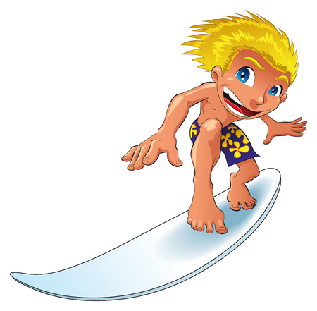 cartoon surfing: Baby surfing, cartoon and vector character