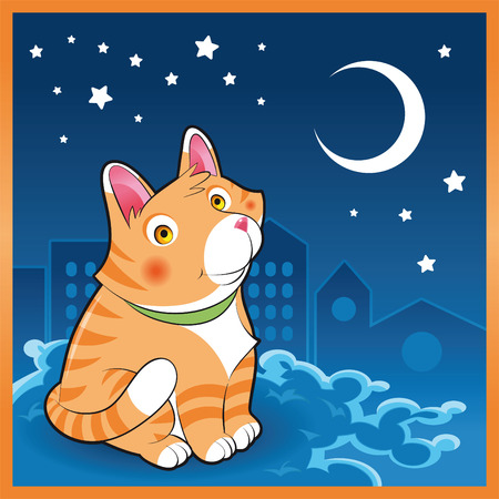Baby cat in the night, cartoon and vector illustration Stock Vector - 5539021