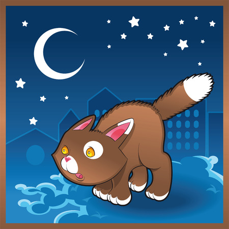 Baby cat in the night, cartoon and vector illustration Stock Vector - 5539022