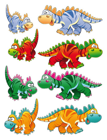 family history: Types of dinosaurs, cartoon and vector characters