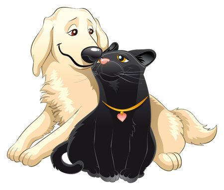 Mooie kat en hond, cartoon en vector karakters Vector Illustratie