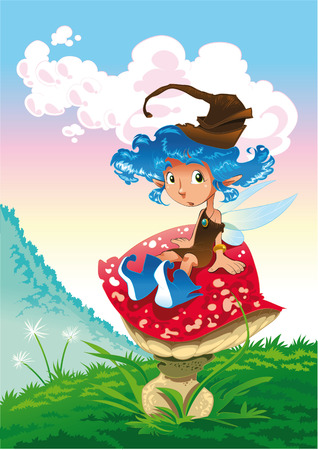 žampión: Fairy in the landscape, cartoon and vector illustration