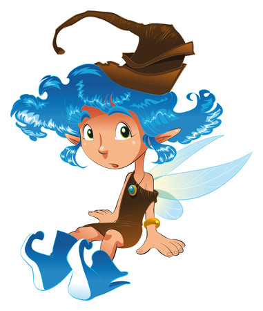 scare: Fairy is sat, cartoon and vector illustration