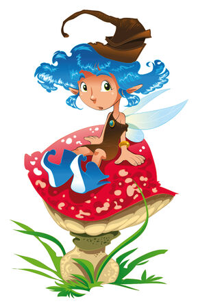 Fairy on a mushroom, cartoon and vector illustration Vector