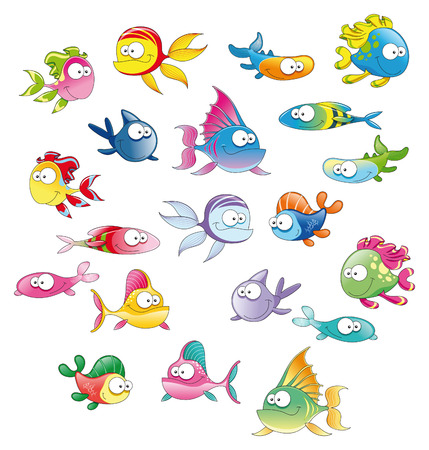 fish: Family of fish, cartoon and vector illustration Illustration