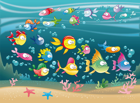 goldfish: Family of fish in the ocean, cartoon and vector illustration