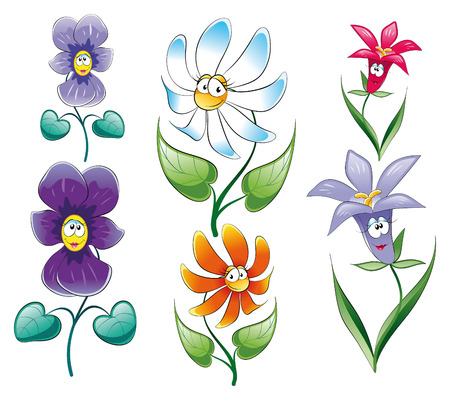 Flowers, cartoon and vector characters Vector