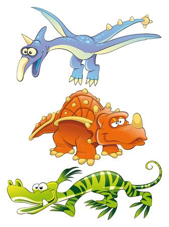Monsters Dinosaurs, cartoon and vector characters Vector