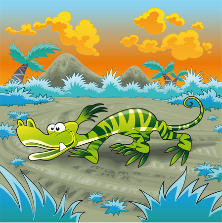 Funny lizard, cartoon and vector illustration Vector