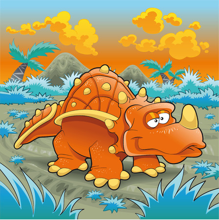 hedge trees: Funny triceratops, cartoon and vector illustration