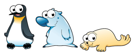 small group of animal: Polar animals: Polar bear, penguin and seal. Cartoon and vector characters Illustration