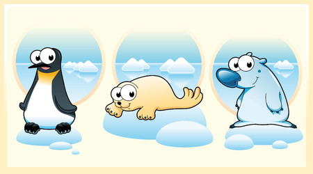 Polar animals: Polar bear, penguin and seal. Cartoon and vector illustration Vector