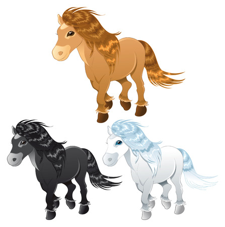 cute blonde: three horses or pony, cartoon and vector characters