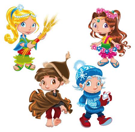 casta�as: Temporada - personajes de dibujos animados y vector
