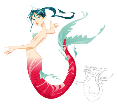 manga girl: Mermaid (color and BlackWhite lines) vector illustration