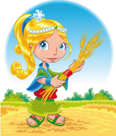planta de maiz: Verano - ilustración dibujos animados y vector Vectores