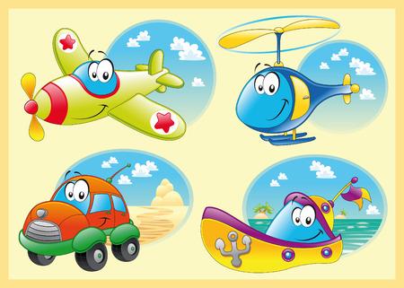 transport scolaire: Famille de v�hicules, de bande dessin�e et illustration vectorielle Illustration