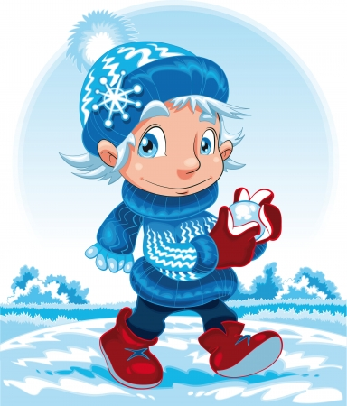 Winter, cartoon and vector character