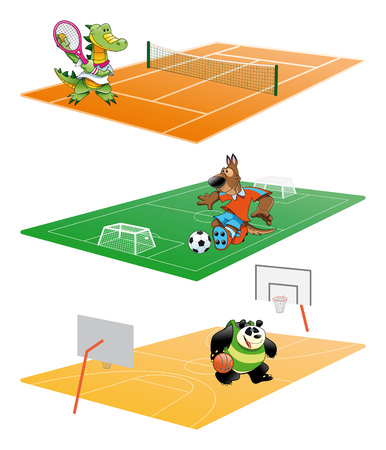 tennis court: Sport and Animal, cartoon and vector illustration