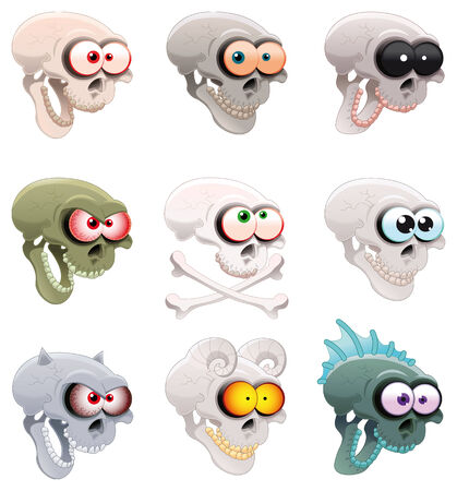 Group of skulls, cartoon and vector characters Vector