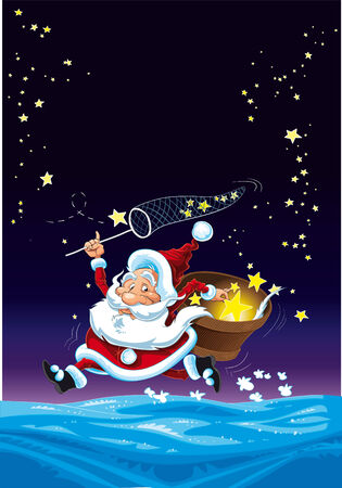 Santa Claus and the Stars, cartoon and vector illustration