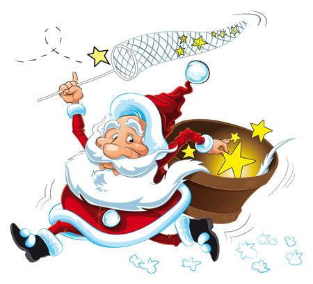 Santa Claus and the Stars, cartoon and vector character Stock Vector - 5539141