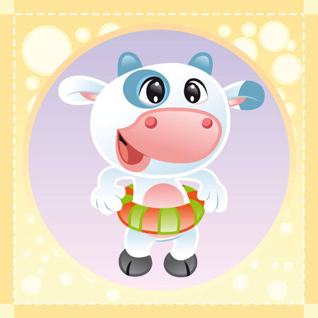 Baby Cow, cartoon and vector illustration Stock Vector - 5539093