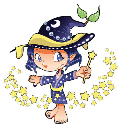 cartoon witch: Little Witch, cartoon and vector character Illustration