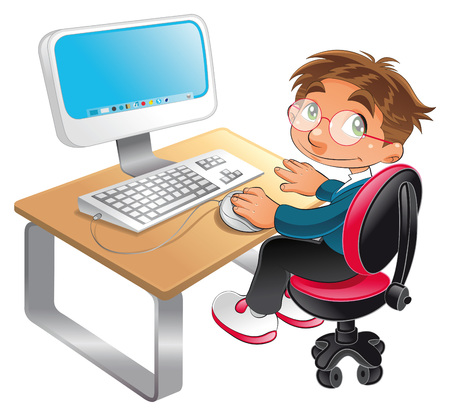 computer vector: Boy and computer, cartoon and vector scene
