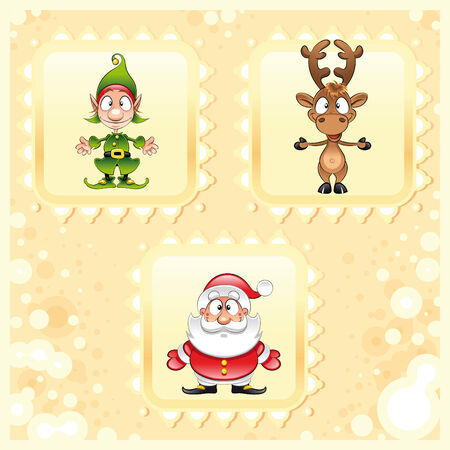 santaclaus: SantaClaus, Rudolph and Elf, cartoon and vector illustration