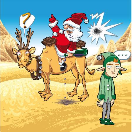 camels: Christmas in desert, cartoon and vector illustration Illustration