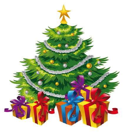 Christmas tree,  cartoon and vector scene Illustration