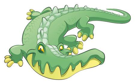 jacar�: Crocodile, cartoon and vector character