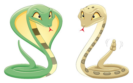 Two Snakes: Cobra and Pit Viper. Cartoon and vector reptiles Vector