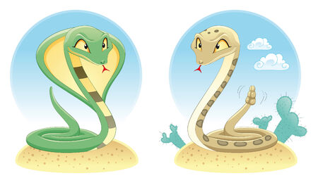 pit: Two Snakes: Cobra and Pit Viper with background. Cartoon and vector reptiles