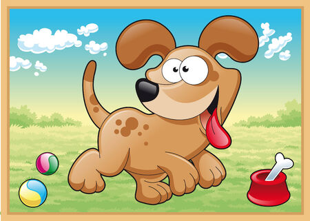 tenderly: Dog is running in meadow with his toys, cartoon and vector illustration