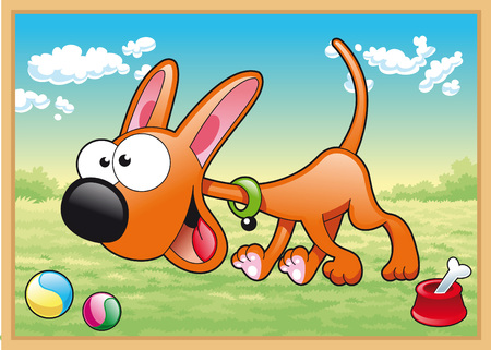 Dog is running in meadow with his toys, cartoon and vector illustration Vector