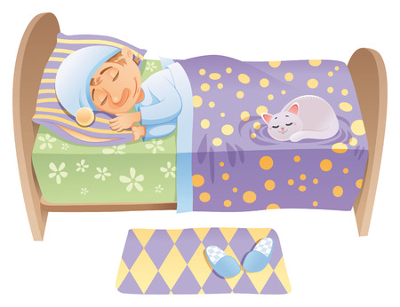 tenderly: Boy is sleeping in his bed, cartoon and vector scene
