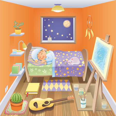 tenderly: Boy is sleeping in his bedroom, cartoon and vector scene