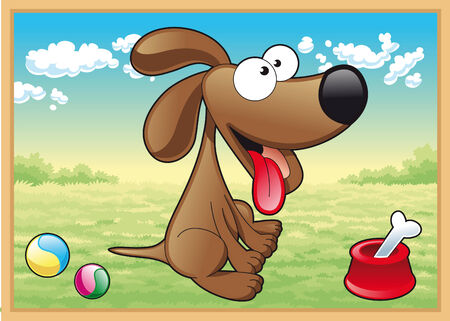 Dog in meadow with his toys. Cartoon and vector illustration Vector