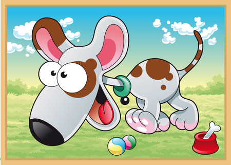 Dog is running in meadow with his toys. Cartoon and vector illustration Vector