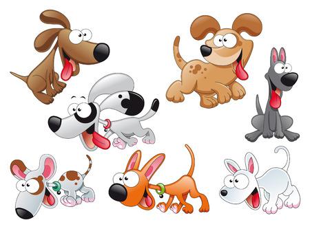 Famille de chiens. Dessin animé et du vecteur de caractères