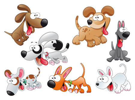 piebald: Family of dogs. Cartoon and vector characters
