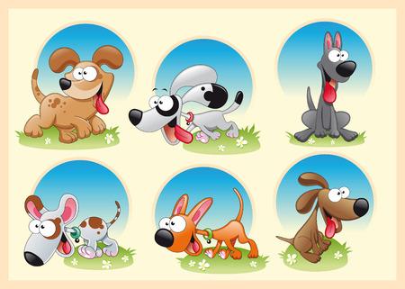 Famiglia di cani con lo sfondo. Illustrazione di cartone animato e vettoriale